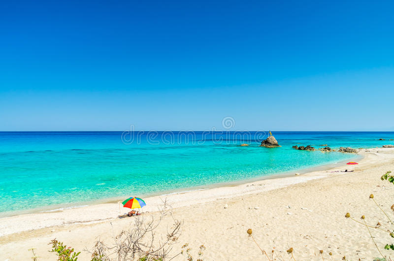 Avali海滩,莱夫卡斯州海岛,希腊 免版税库存图片