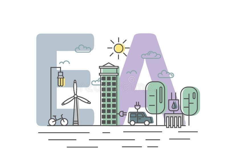Avaliação ambiental, EA Avaliação das consequências ambientais Ilustração do vetor do conceito no estilo liso ilustração stock