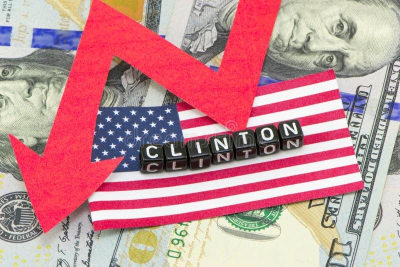 A avaliação Clinton caiu contra foto de stock royalty free