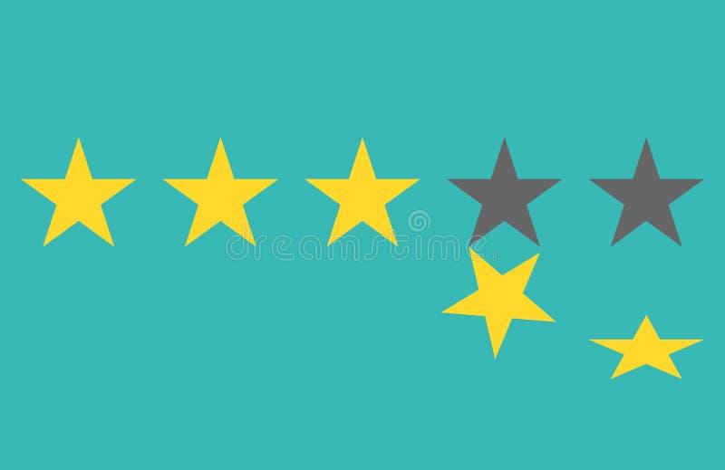 Avaliação da estrela O botão amarelo liso da Web cinco stars avaliações Sistema de avaliação Revisão positiva Ilustração do vetor ilustração do vetor