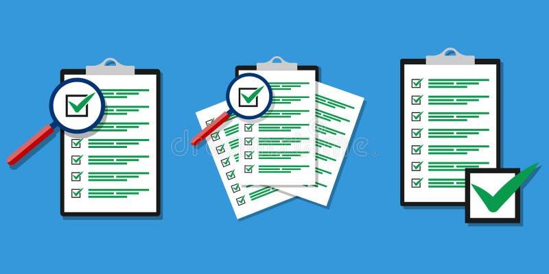 Avaliação de ampliação da lista de verificação Ícone liso do projeto ilustração royalty free