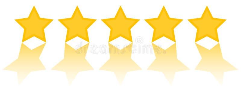 Avaliação de cinco estrelas, cinco estrelas douradas com refleciton ilustração royalty free