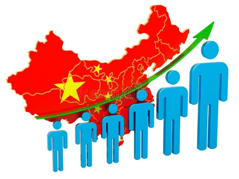 Avaliação do emprego e o desemprego ou a mortalidade e a fertilidade em China, conceito rendi??o 3d ilustração stock