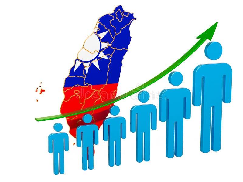 Avaliação do emprego e o desemprego ou a mortalidade e a fertilidade em Taiwan, conceito rendi??o 3d ilustração stock