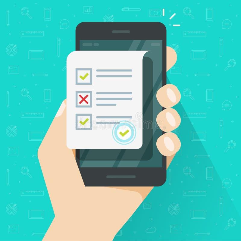 A avaliação em linha do formulário na ilustração do vetor do smartphone, o telefone celular liso dos desenhos animados e o exame  ilustração royalty free
