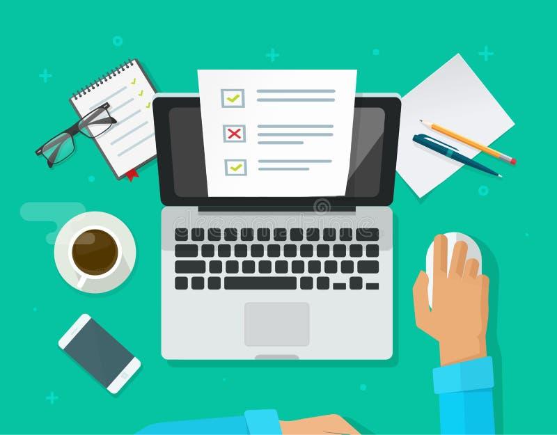 Avaliação em linha do formulário no vetor do portátil, pessoa que trabalha no original da folha do papel do exame do questionário ilustração do vetor