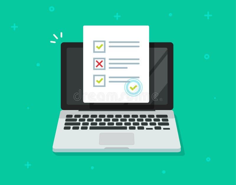 Avaliação em linha do formulário no vetor do portátil, documento da folha do papel do exame do questionário do computador, desenh ilustração do vetor