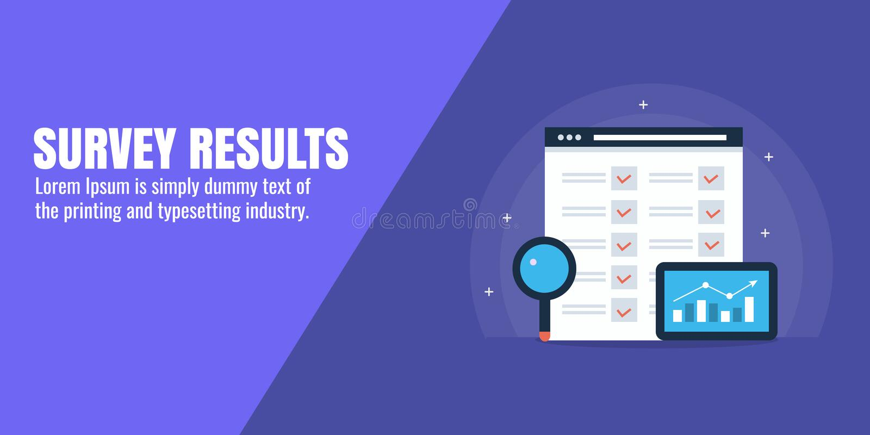 Avaliação em linha - feedback de cliente - revisão da lista de verificação e conceito da avaliação Bandeira lisa do vetor do proj ilustração stock