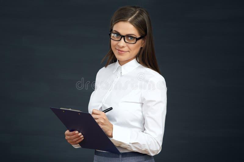 Avaliação pública da conduta social da mulher do empregado Mulher de negócios com imagens de stock royalty free
