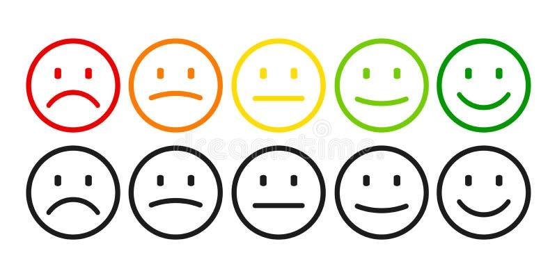 Avaliação por emoticons do negativo à emoção positiva, ajustada Grau, nível de avaliação de satisfação ilustração stock