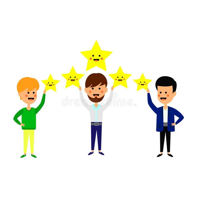 Avalia??o de cinco estrelas Os trabalhadores estão guardando estrelas sobre as cabeças Conceito do serviço do nível de satisfação ilustração do vetor