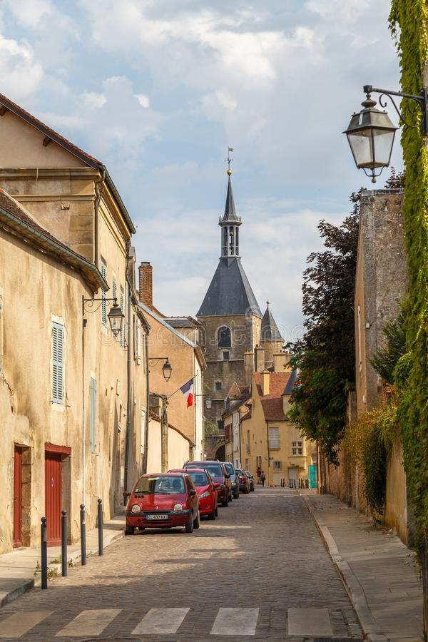 Street of the historic town Avallon, France. AVALLON / FRANCE - JULY 2015: Street of the historic town Avallon, France royalty free stock image