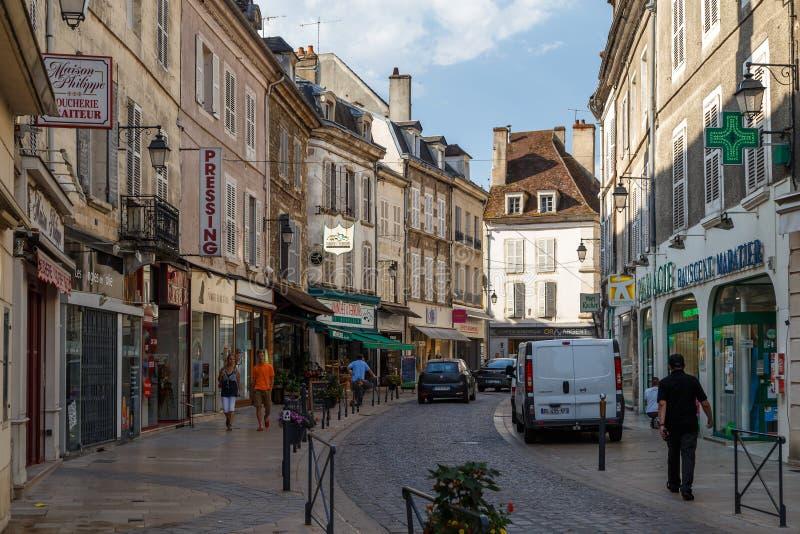 Street of the historic town Avallon, France. AVALLON / FRANCE - JULY 2015: Street of the historic town Avallon, France stock photos