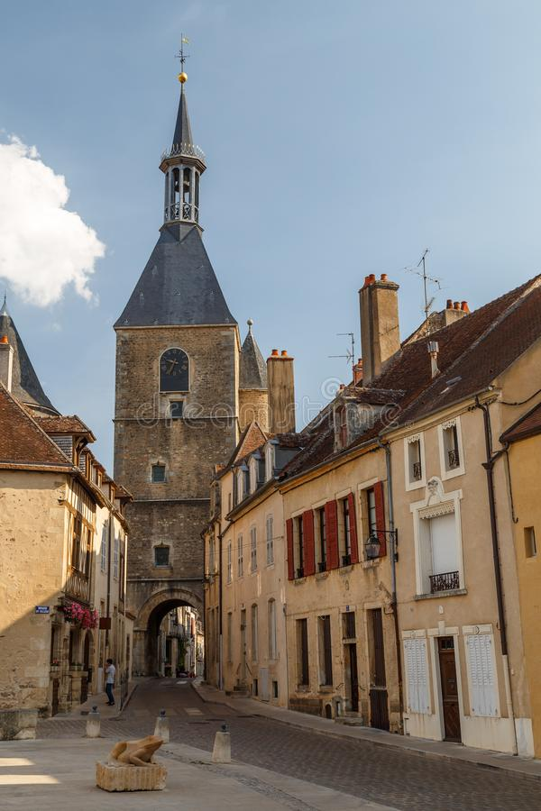 Street of the historic town Avallon, France. AVALLON / FRANCE - JULY 2015: Street of the historic town Avallon, France royalty free stock photography
