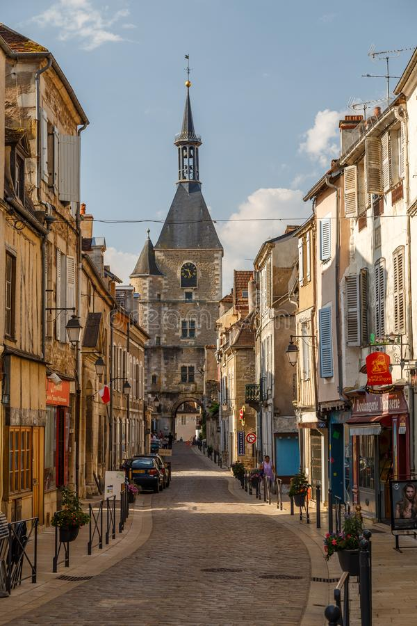Street of the historic town Avallon, France. AVALLON / FRANCE - JULY 2015: Street of the historic town Avallon, France stock photo