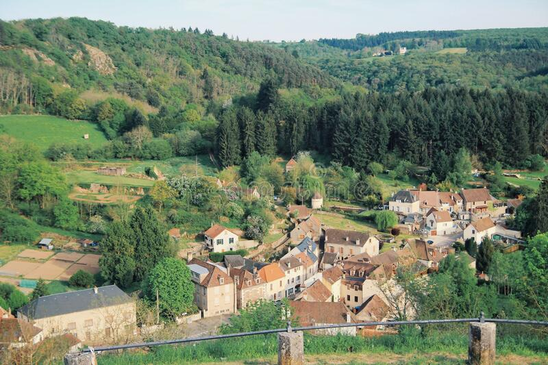 Avallon, a small city in valley, Bourgogne, France stock images