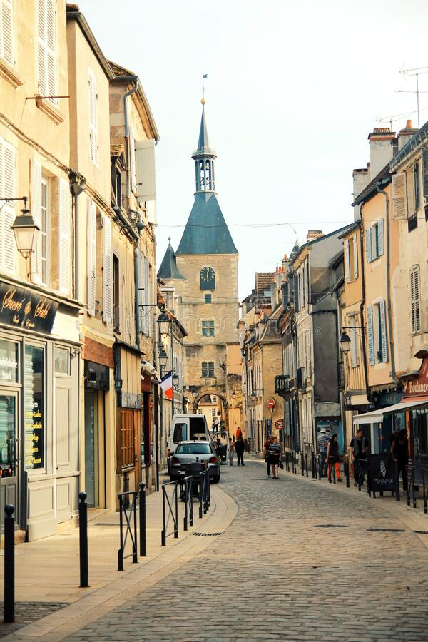 Avallon, a small city in valley, Bourgogne, France stock photography