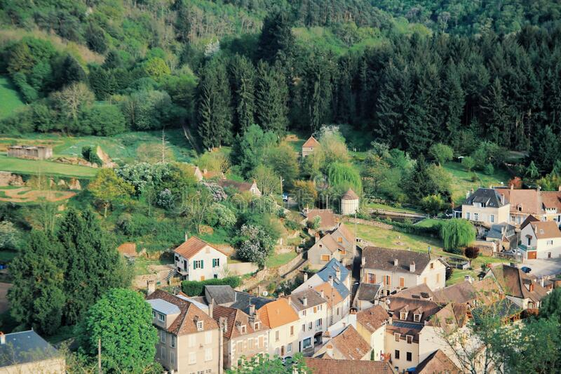 Avallon, a small city in valley, Bourgogne, France stock photos