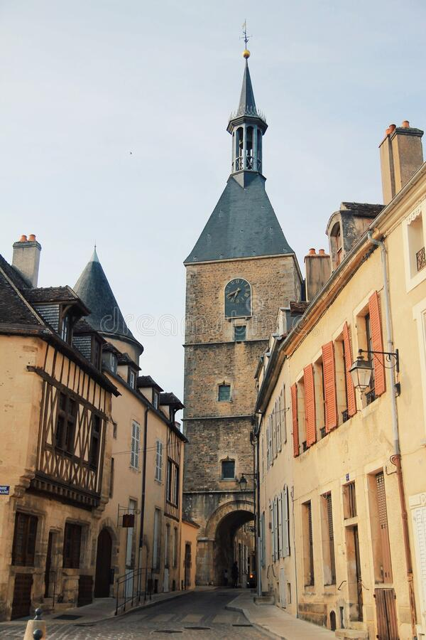 Avallon, a small city in valley, Bourgogne, France royalty free stock photos