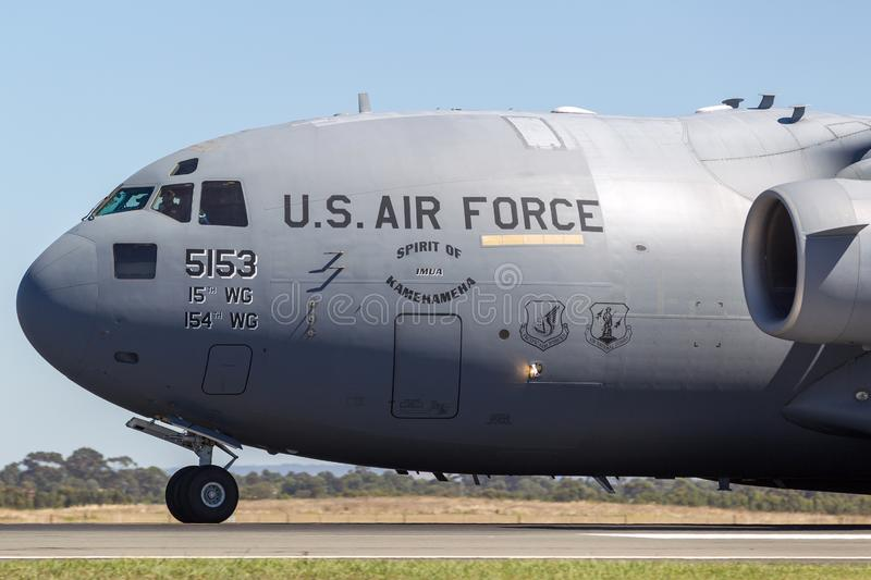 United States Air Force USAF Boeing C-17A Globemaster III military transport aircraft 05-5153. Avalon, Australia - February 25, 2013: United States Air Force stock photos
