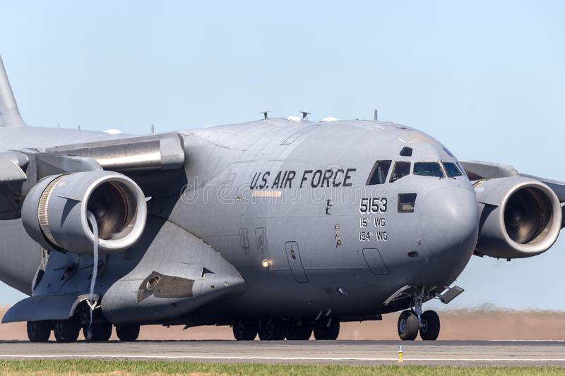 United States Air Force USAF Boeing C-17A Globemaster III military transport aircraft 05-5153 from the 535th Airlift Squadron. Avalon, Australia - February 25 royalty free stock photography