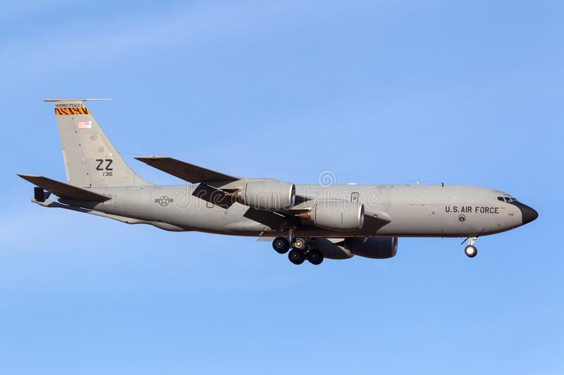 United States Air Force USAF Boeing KC-135R Stratotanker 61-0315 aerial refuelling tanker aircraft. Avalon, Australia - February 22, 2013: United States Air royalty free stock photos