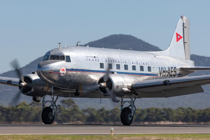 Vintage Douglas DC-3C airliner VH-AES in Trans Australian Airlines livery. Avalon, Australia - March 3, 2013: Vintage Douglas DC-3C airliner VH-AES in Trans royalty free stock image