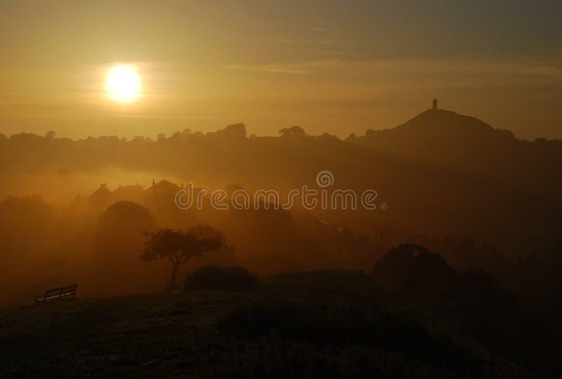 Avalon, Glastonbury Sunrise royalty free stock photo