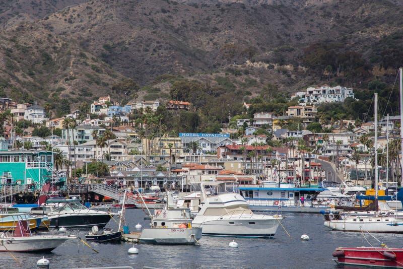 Avalon Hafen auf Catalina-Insel lizenzfreie stockfotos