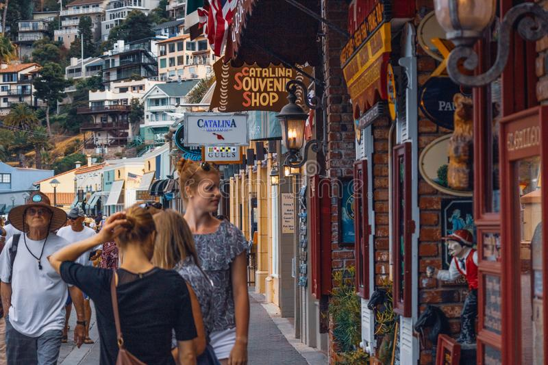 Avalon, Street View, Catalina Island, Kalifornien stockbilder