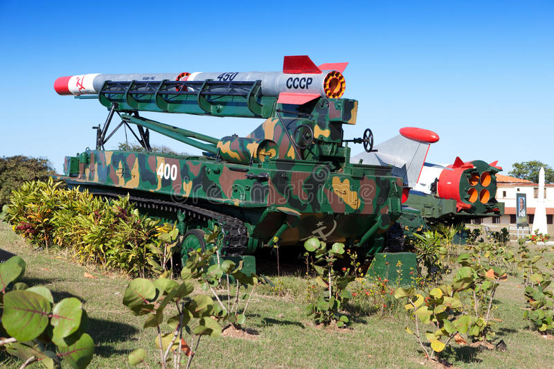 Avana. Cabina di Morro- della fortezza. La mostra dell'arma sovietica votata alla memoria della crisi caraibica (crisi cubano del  immagini stock libere da diritti