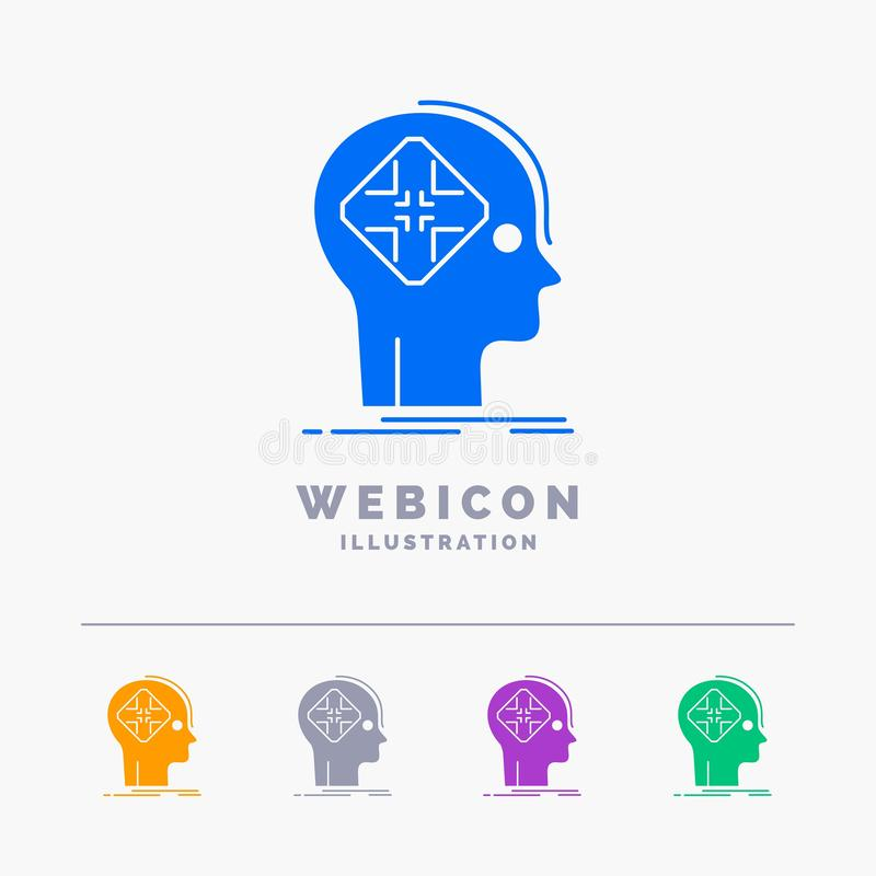 Avancé, cyber, avenir, humain, calibre d'icône de Web de Glyph de couleur de l'esprit 5 d'isolement sur le blanc Illustration de  illustration de vecteur