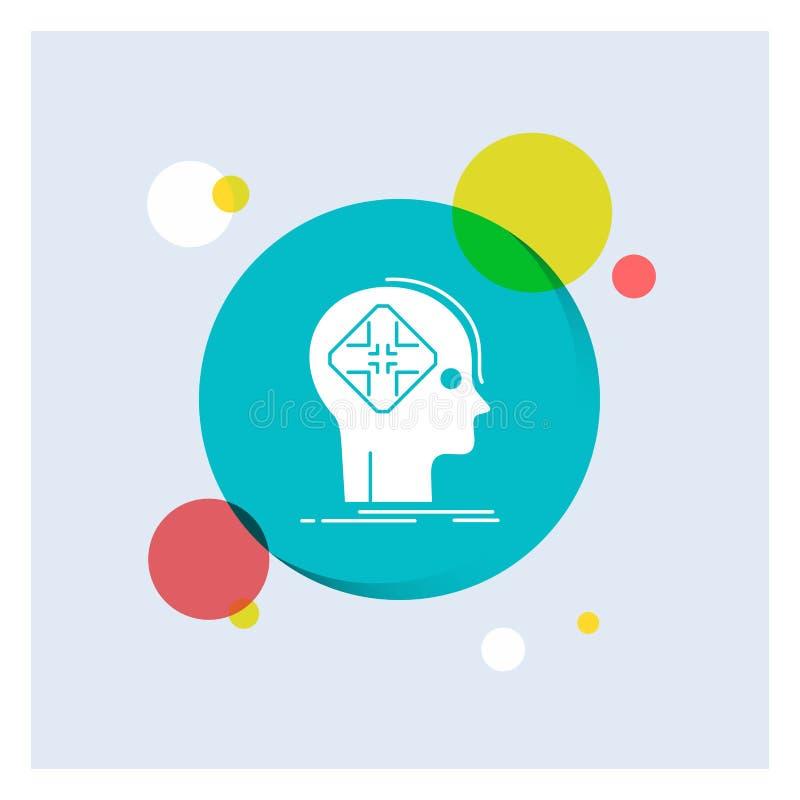 Avancé, cyber, avenir, humain, fond coloré de cercle d'icône blanche de Glyph d'esprit illustration stock