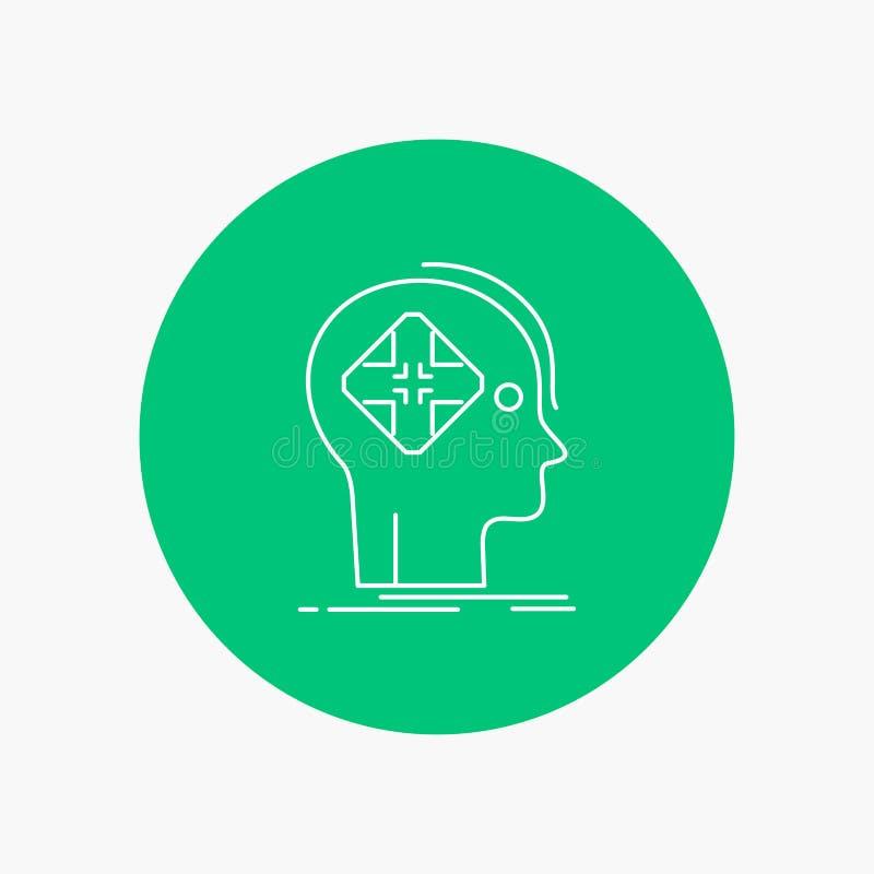 Avancé, cyber, avenir, humain, ligne blanche icône d'esprit à l'arrière-plan de cercle Illustration d'ic?ne de vecteur illustration stock