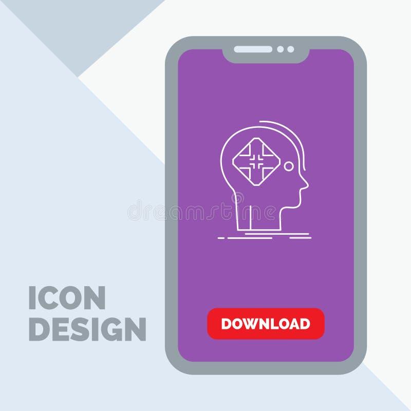 Avancé, cyber, avenir, humain, ligne icône d'esprit dans le mobile pour la page de téléchargement illustration libre de droits