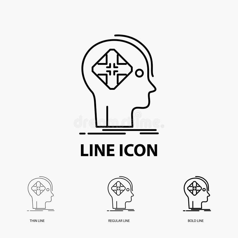Avancé, cyber, avenir, icône humaine, d'esprit dans la ligne style mince, régulière et audacieuse Illustration de vecteur illustration de vecteur