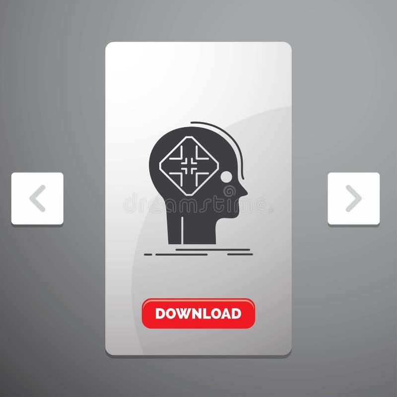 Avancé, cyber, avenir, icône humaine, d'esprit de Glyph dans la conception de glisseur de paginations de beuverie et bouton rouge illustration stock