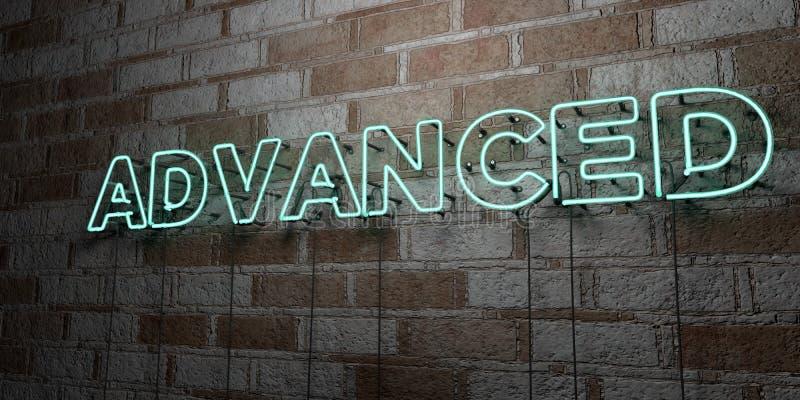 AVANCÉ - Enseigne au néon rougeoyant sur le mur de maçonnerie - 3D a rendu l'illustration courante gratuite de redevance illustration de vecteur