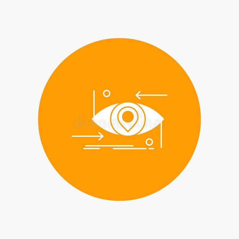Avancé, futur, GEN, la science, technologie, icône blanche de Glyph d'oeil en cercle Illustration de bouton de vecteur illustration libre de droits