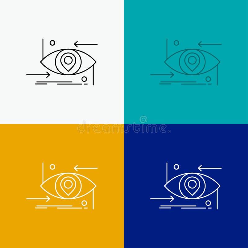 Avancé, futur, GEN, la science, technologie, icône d'oeil au-dessus de divers fond Ligne conception de style, con?ue pour le Web  illustration de vecteur