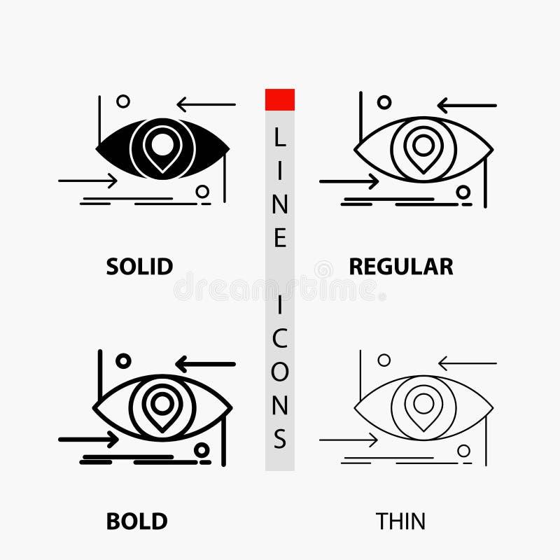 Avancé, futur, GEN, la science, technologie, icône d'oeil dans la ligne et le style minces, réguliers, audacieux de Glyph Illustr illustration de vecteur