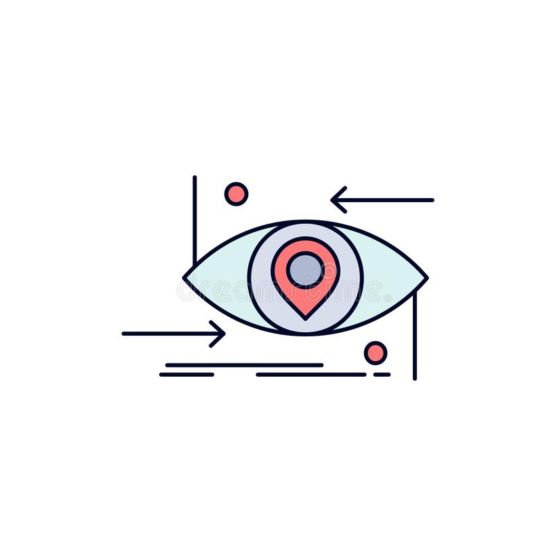 Avancé, futur, GEN, la science, technologie, vecteur plat d'icône de couleur d'oeil illustration stock