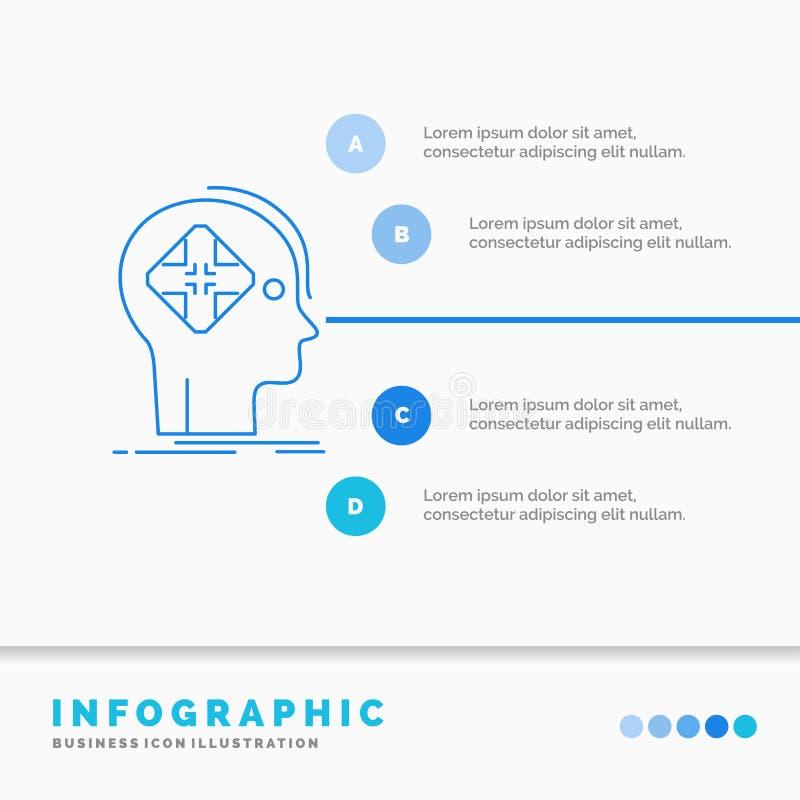 Avanc?, cyber, avenir, humain, calibre d'Infographics d'esprit pour le site Web et pr?sentation Ligne vecteur infographic de styl illustration stock