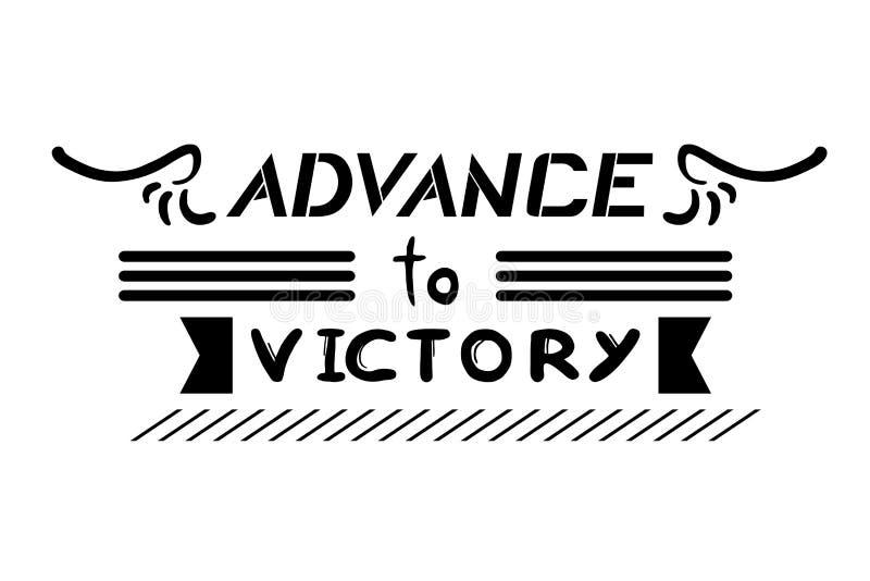 Avance au message de victoire illustration stock