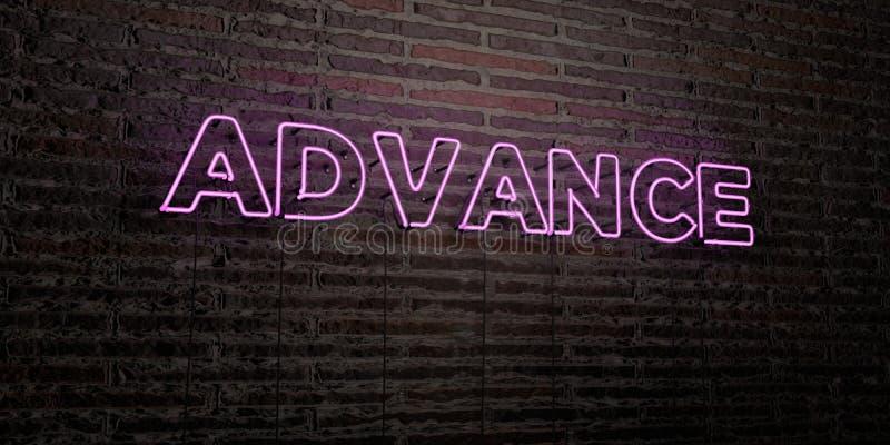 AVANCE - enseigne au néon réaliste sur le fond de mur de briques - image courante gratuite de redevance rendue par 3D illustration de vecteur