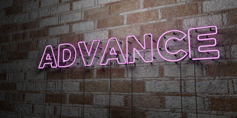 AVANCE - Enseigne au néon rougeoyant sur le mur de maçonnerie - 3D a rendu l'illustration courante gratuite de redevance illustration stock