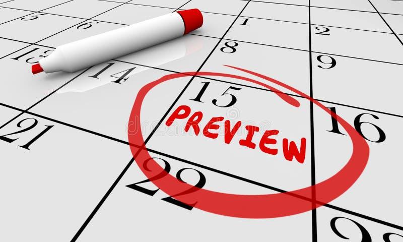 Avance que viene pronto horario del plan de la fecha del día natural stock de ilustración