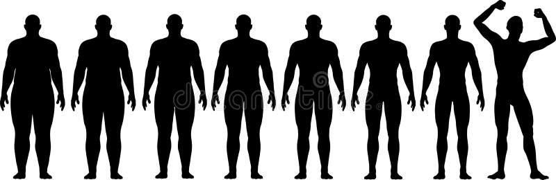 Avant après la graisse pour adapter la réussite de perte de poids de régime illustration libre de droits