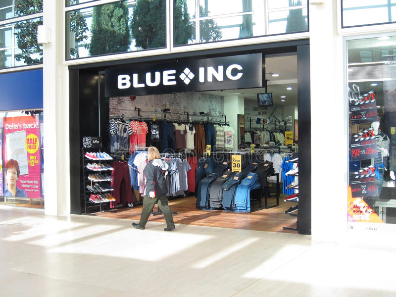 Magasin bleu d'inc. photo stock