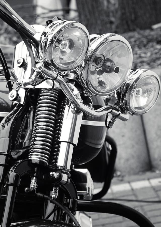 Avant d'une moto classique images libres de droits